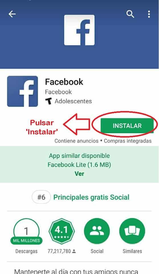 aplicacion gratis para facebook