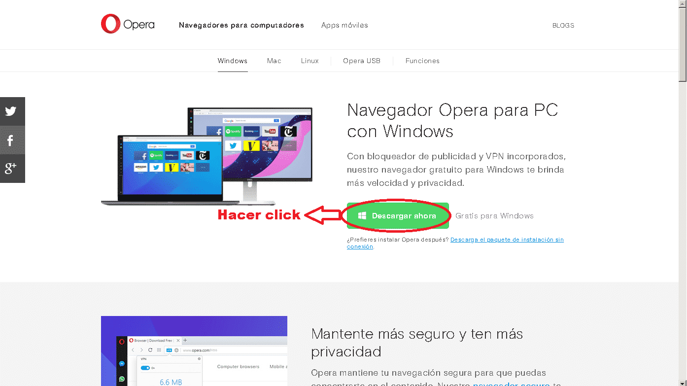descargar opera gratis para pc windows xp